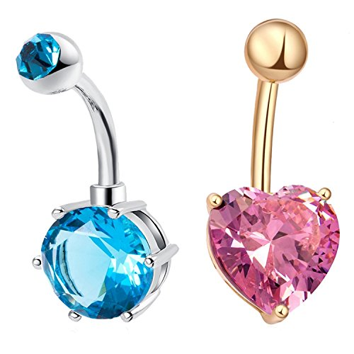 Price comparison product image 2Pcs Piercing Jewelry,Beautiful Cubic Zirconia Belly Button Bar Barbell Navel Ring Body Piercing Jewelry (Lake blue + Pink)