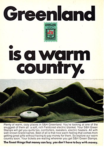1968 S&H Green Stamps: Greenland Is a Warm Country, S&H Stamps Print Ad (Greenland Stamp)