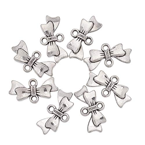 Beadthoven 50pcs Bowknot Alloy Links Beads Tibetan Style Antique Silver Bow Connector Charms for DIY Jewelry & Crafts Lead Free & Cadmium Free & Nickel Free