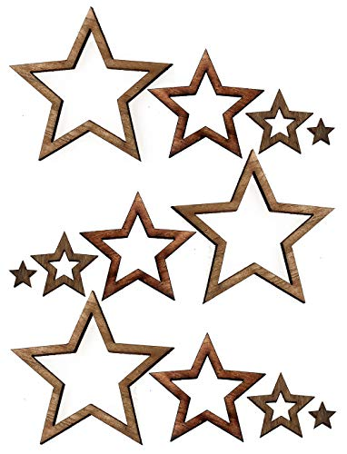 Nesha Assorted Wooden Star Cutouts for Crafts 100 Pack