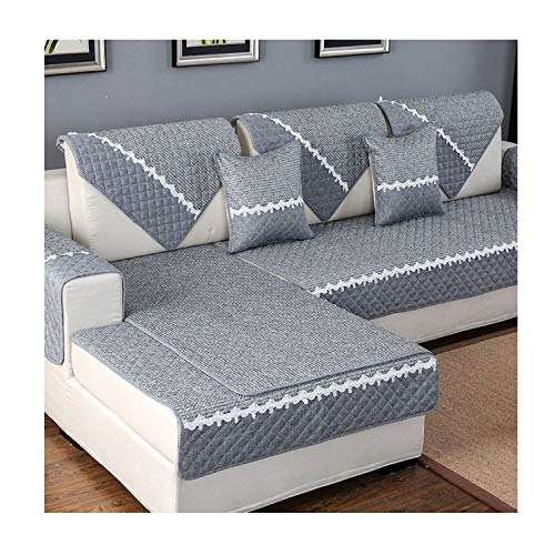 - Solid Color Sofa Cover Sofa Towel Cushion Cotton Linen Fabric Couch Case for Different Shape Sofa Set,A,110X210Cm