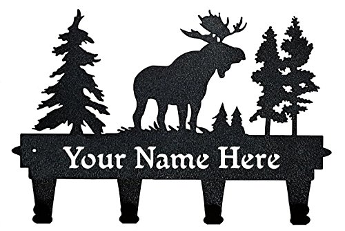 Personalized Wall Mounted Black Moose Coat and Hat Rack