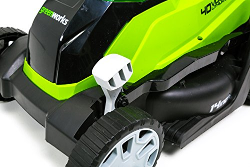 GreenWorks MO40B410 G-MAX 40V 14'' Brushed Lawn Mower, 4Ah Battery and Charger Included