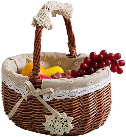 ピクニックバスケット ピクニックバスケットフルーツショッピング収納編まれたバスケット竹バスケットショッピングバスケット皿アウトドアキャンプ便利な使用 ピクニックキャンプに適しています (サイズ : Small)