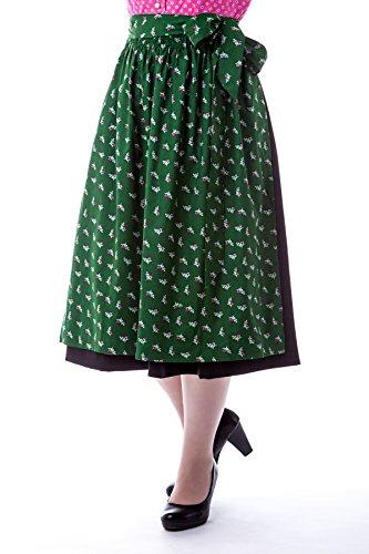 trachtige Dirndlschürze pink ,grün oder rot Baumwolle Trachtenschürze, 69 cm, Midi Schürze, Trachtenmode für Damen,Evi (one Size, grün)
