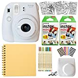 Fujifilm Instax Mini 9 Instant Camera (SMOKEY WHITE) + Fuji INSTAX Film (40 Sheets) + Bundle With: Groovy Camera Case + Scrapbook Photo Album + Stencils + Metallic Markers + Photo Corners