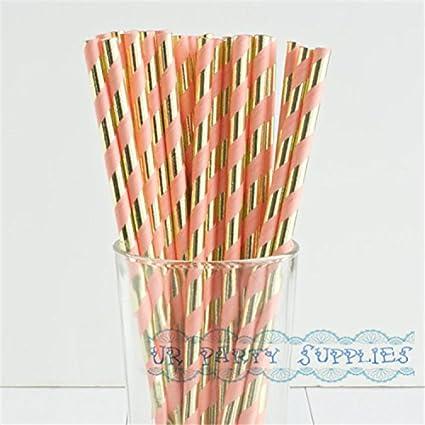 lavenz 250pcs paper straw mint green gold foil striped paper straws bling bridal shower brunch glam