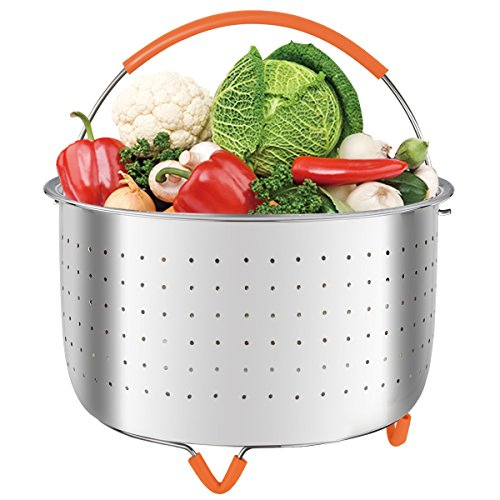 MASHANG Steamer Basket Stainless Steel Compatible for Instant Pot Fits Instapot 6 Quart/8 qt Steamer Insert Veggie Steamer with Silicone Handle and Non-slip Legs for Steaming Vegetables Eggs For Sale