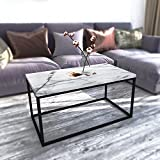 Roomfitters White Marble Print Coffee Table, Upgraded Water Resistant Version, Accent Rectangular Cocktail Table Black Metal Box Frame
