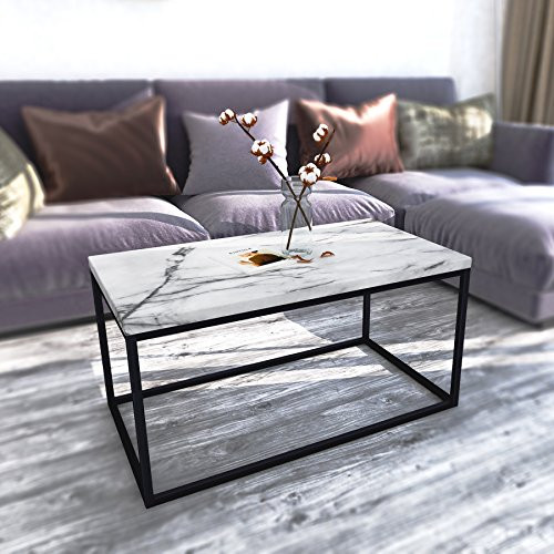 Roomfitters White Marble Print Coffee Table, Upgraded Water Resistant Version, Accent Rectangular Cocktail Table Black Metal Box Frame -
