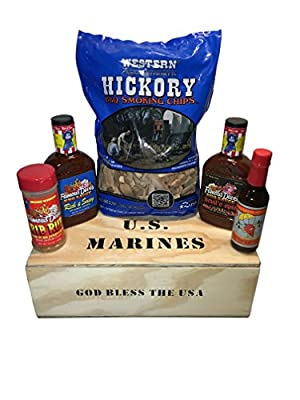 United States Marines Smoker Crate Gift Box Bundle with Famous Dave's BBQ Sauce & Rib Rub, Smoke Jumper Hot Sauce and Western Hickory BBQ Smoking Wood Chips from Smoker Crate