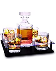 Bezrat Old Fashioned Decanter & Whiskey Glasses Set – On Rich Wood Mahogany Acrylic Glass Base Tray Stand – 4 Scotch Bourbon Glasses – Gift Packaging