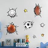 kids wall decals sharks - U-Shark 3D Self-adesive Removable Break Through the Wall Vinyl Wall Stickers /Murals Art Decals Decorator Kid's Favor (2080 Sports Basketball Football Soccer Tennis(50x70cm))