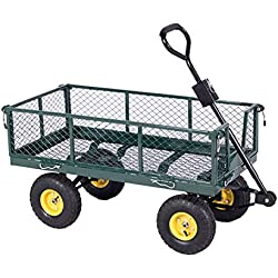 ALEKO TC4206 Heavy Duty Garden Cart Wagon Carrier Wheel Barrow Air Tires with Removable Side Walls and Padded Pull Handle 38 x 10 x 20 Inches Green