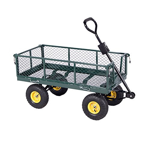 ALEKO TC4206 Farm & Ranch, Heavy Duty Removable Steel Mesh Sides Flatbed Garden Mesh Cart With Padded Pull Handle, 800 lb Capacity by ALEKO