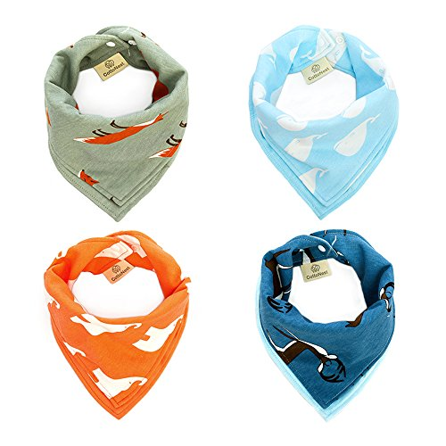 4-Pack Baby Reversible Bandana Drool Bibs for Drooling and Teething,100% Jersey Knitted Cotton,Soft and Absorbent,Hypoallergenic Bibs for Baby Boys - Baby Shower Gift Set