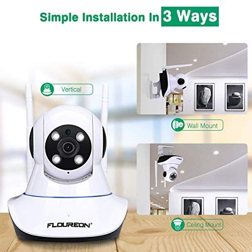 FLOUREON 1080P Wireless Security IP WiFi Camera/Tilt Baby Pet Monitor H.264 Wireless Night Vision Motion Detect Phone APP Control and View/Video Record Email Alarm