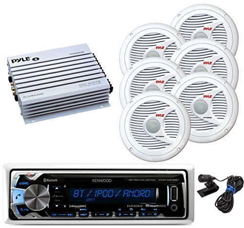 New Kenwood Outdoor Waterproof KMRM318BT ATV Bike Yacht Bluetooth USB AUX Radio, 6x 6.5 Inch White Marine Speakers, 400W Marine Amp -Outdoor Audio Kit by Kenwood Pyle