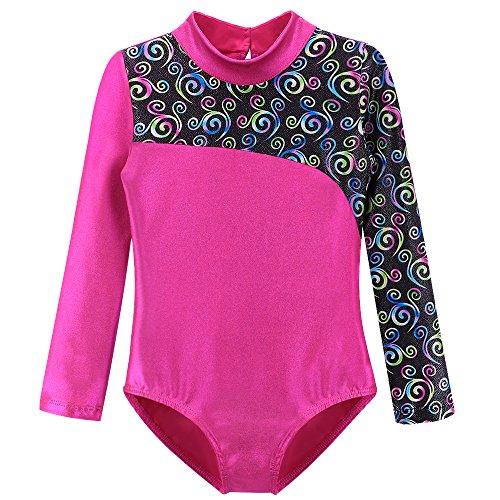 Long Sleeve Leotards for Girls Gymnastics Dance Vintage Retro Hot pink 9t 10t