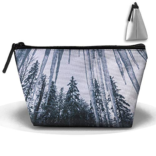 pengyong Icicle and Tree Makeup Bag Large Trapezoidal Storage Travel Bag Wash Cosmetic Pouch Pencil Holder Zipper Waterproof (Icicle Stuffed Animal)