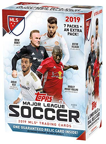 (2019 Topps MLS Soccer Unopened Blaster Box of Packs with One GUARANTEED JUMBO RELIC or DUAL RELIC Card Per Box)