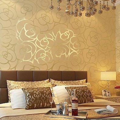 Wapea 3D Non-Woven Wallpaper Golden Big Rose Sitting Room Bedroom Tv ...