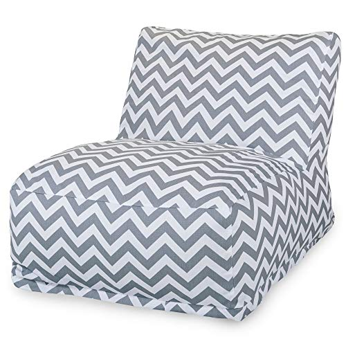 Majestic Home Goods Chevron Bean Bag Chair Lounger, Gray