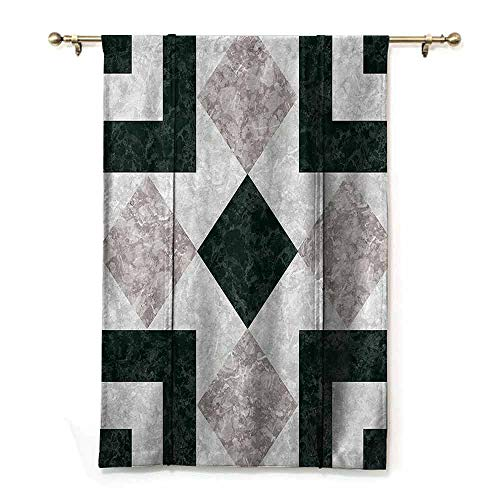 S Brave Sky Decorative Roman Curtain,Apartment Decor,Nostalgic Marble Stone Mosaic Regular Design with Alluring Elements Image,Pearl