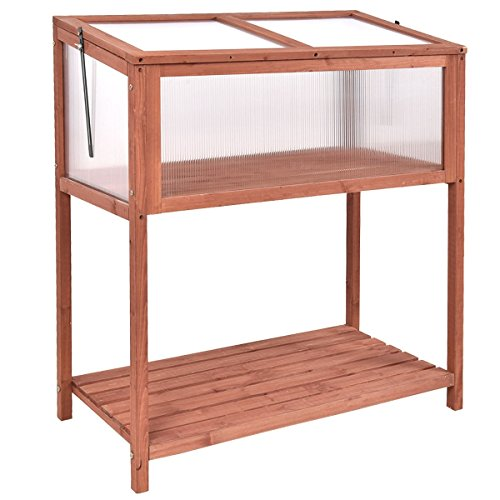 BeUniqueToday Garden Portable Wooden Cold Frame Greenhouse with Bottom Shelf, Polycarbonate Glazing Board, Solid Wood Frame, Sturdy and Durable - Greenhouse Polycarbonate Glazing
