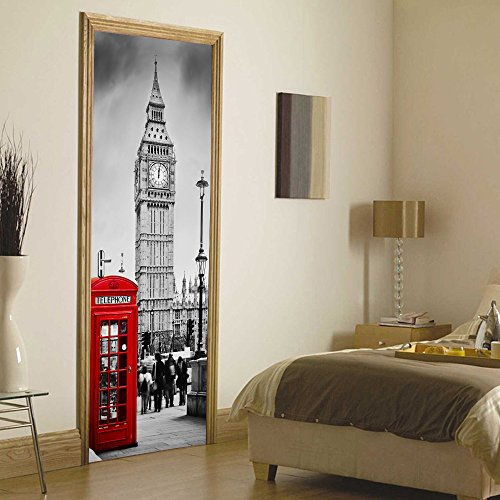 Big Ben Clock Vintage Street 3D Vivid Removable Wall Decor Door Panel Decal of Sliding Door Cover Party Accessory Wallpaper Stickers for Home Decoration-No Damage to Door (Big Ben Clock)