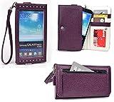 Smartphone Wristlet fits : Blu Studio 5.0 S D560 | Exposed Screen to View Alerts [Plum Purple / Light Grey]
