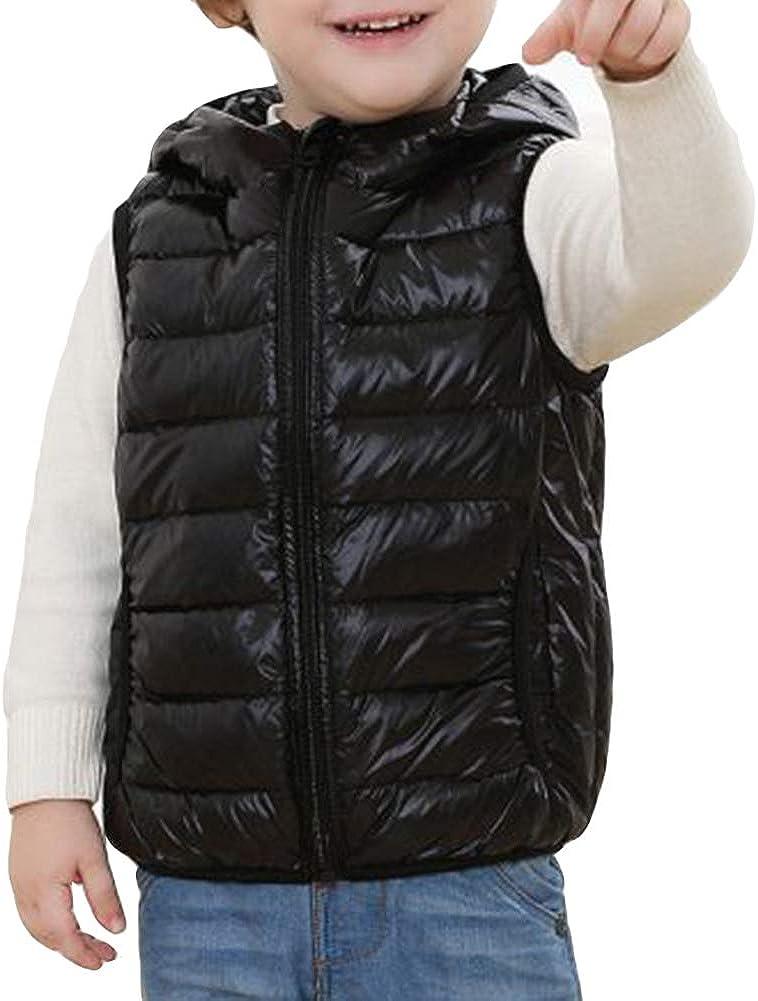 Kids Unisex Gilet with Hood Body Warmers Sleeveless Coat Down Vest