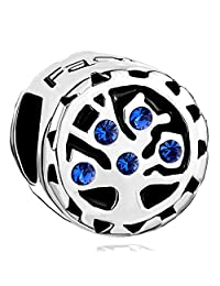 Charmed Craft 925 Sterling Silver Jan-Dec Birthstone Crystal Family Tree Of Life Charm Beads For Charm Bracelets