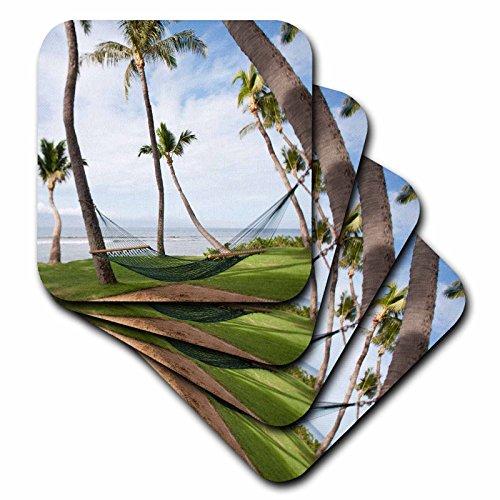 3dRose cst_89189_3 Hammock Under Hawaiian Palm Trees, Maui, Hawaii-Us10 Jgs0038-Jim Goldstein-Ceramic Tile Coasters, Set of 4 by 3dRose