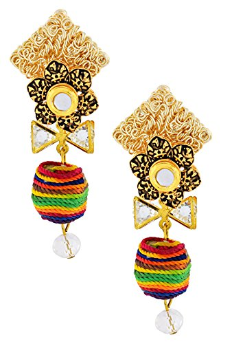 Indian Bollywood Thread CZ American Diamond Antique 22K Gold Plated Kundan Dangling Earring For Women Christmas Gift ()