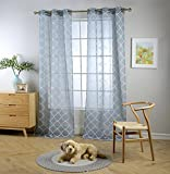 Miuco Sheer Curtains Embroidered Trellis Design Grommet Curtains 84 Inches Long for French Doors 2 Panels (2 x 37'' Wide x 84'' Long) Dusty Blue