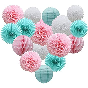 Amazon teal party supplies for bridal baby shower first teal party supplies for bridal baby shower first birthday party wedding decorations 16pcs paper junglespirit Choice Image