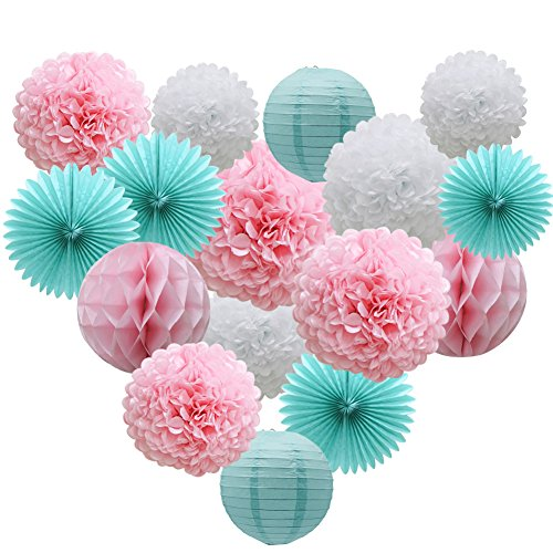 Teal Party Supplies for Bridal Baby Shower First Birthday Party Wedding Decorations (16pcs) Paper Honeycomb Ball Pom Poms Flowers Paper Lanterns Hanging Tissue Fan -