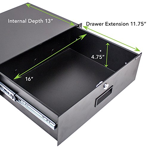 NavePoint Server Cabinet Case 19'' Rack Mount DJ Locking Lockable Deep Drawer with Key 3U by NavePoint