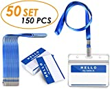 Gimars 50 Set/150PCS Heavy Duty 0.4mm Thickness 50-Piece Waterproof Badge ID Card Holders, 50-Piece Long Smooth Lanyards and 50-Piece Name Tags
