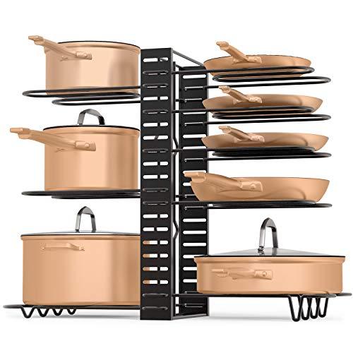 Last Minute Kitchen Pot & Pan Organizer 3 DIY Method Adjustable 8 Rack System for Pantry Cabinet & Countertop Black Heavy Duty Shelves (Toughest Upgrade)