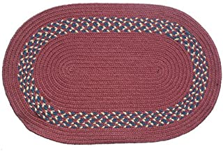 product image for Oval Braided Rug (2'x3'): Burgundy - Burgundy, Navy & Camel Band