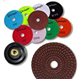 "KENT 10 pcs WET 4"" Premium Quality Assorted Grits 4mm Thicker Diamond Polishing Pads, With White Buff, Black Buff and 5/8""-11 Holder Pad, for Granite & Marble, Velcro Style"