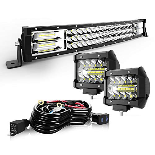 """TURBO SII 20/22"""" LED Light Bar Curved Triple Row 306W Flood Spot Combo Beam Led Bar W/ 2Pcs 4in 60W Off Road Driving Fog Lights with Wiring Harness-3 Leads for Jeep Trucks Polaris ATV Boats Lighting"""