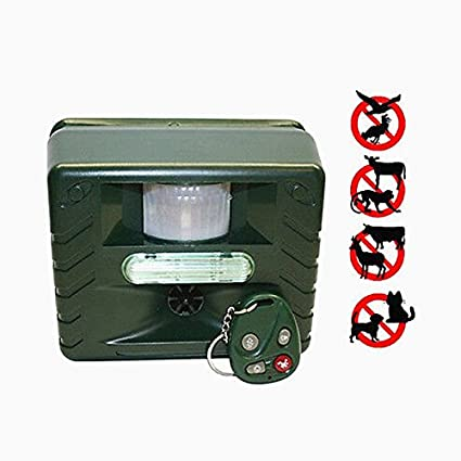 MINS - Ultrasonic Animal Pest Repeller Bird Control Repeller with Motion Detector Sensor, Strobe &