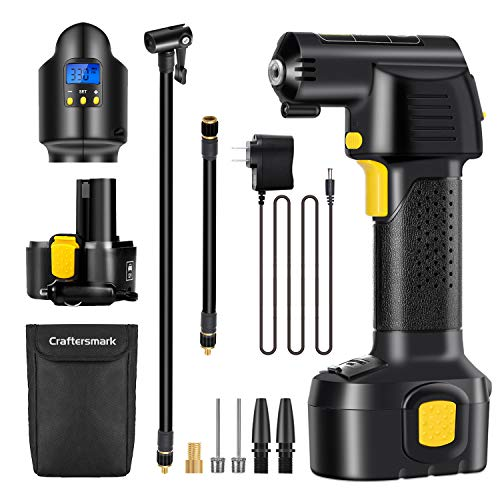 Air Compressor Cordless, Craftersmark Portable Tire Inflator, 150PSI Car Tire Pump with Rechargeable Battery, Air Pump…