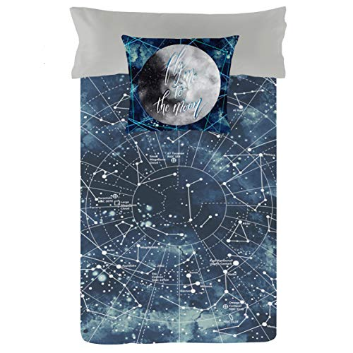 Luna Style Bed Sleeping Bag Experience- Duvet Cover Connected to Fitted Sheet with Zipper-Comforter Included- Boys Girls Kids Twin Size-100% Cotton Bedding-Sweet Stars Navy