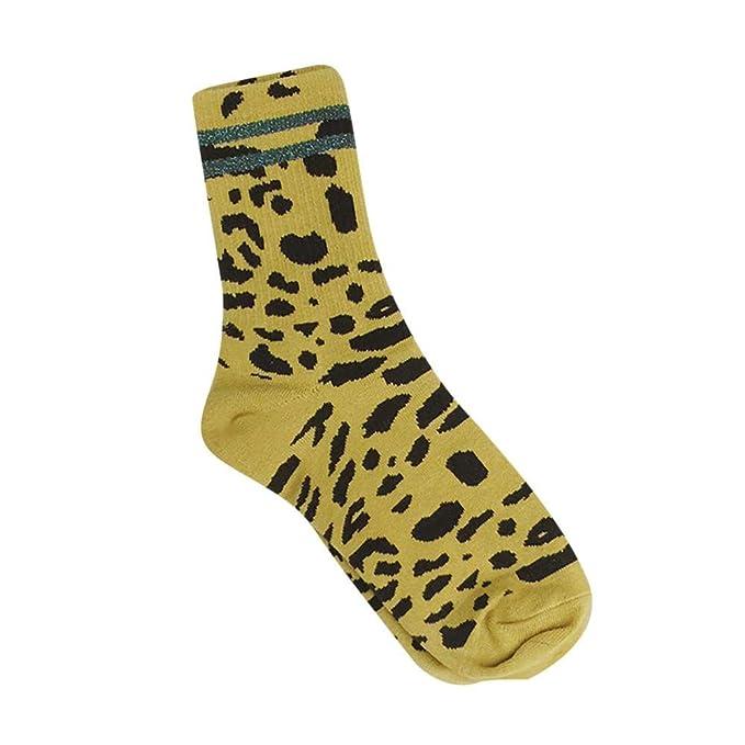 VJGOAL Moda casual de invierno de invierno cálido y transpirable estampado de leopardo Calcetines de algodón