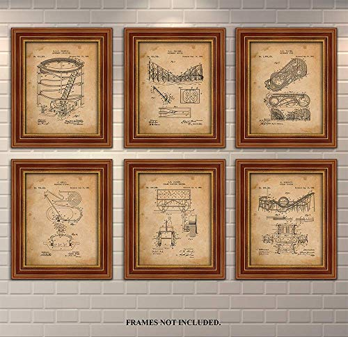 Roller Coaster - Patent Prints - Coney Island - Set of 6 Invention Patent Prints. Makes a Unique Gift for Anyone who Loves Roller Coasters - Art Wall Decor - Antique