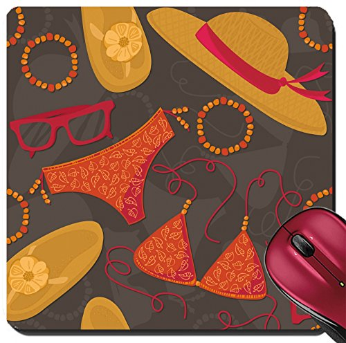 Liili Suqare Mousepad 8x8 Inch Mouse Pads/Mat ID: 25665160 bikini hut sunglasses bracelets flip flops summer outfit illustration elements on dark background - Sunglasse Hut